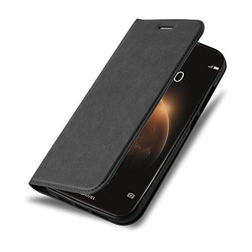 Cadorabo Hülle für Huawei G7 Plus / G8 / GX8 - Hülle in Nacht SCHWARZ - Handyhülle mit Magnetverschluss, Standfunktion und Kartenfach - Case Cover Schutzhülle Etui Tasche Book Klapp Style