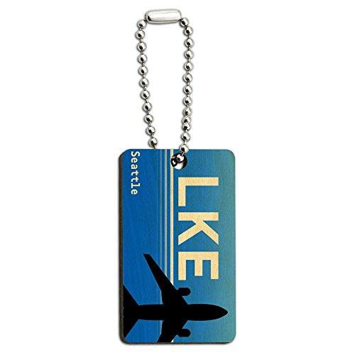 Graphics and More Seattle Wa–Lake Union SPB (Region) Flughafen Code Holz Rechteck Schlüssel Kette