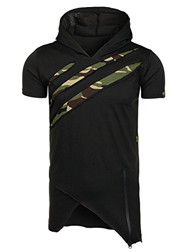 BOLF Herren T-Shirt Tee Kurzarm Kapuze Slim Fit Militär Camo 3C3 Motiv  Schwarz