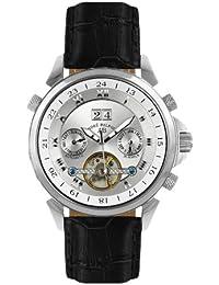 André Belfort 410125 - Reloj analógico de caballero automático con correa de piel plateada - sumergible a 50 metros