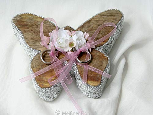 Ringkissen Holz Herz Schmetterling silberfarbener Glamour groß rosa
