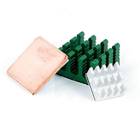 Aukru® Set de 3 Dissipateur thermique en Aluminium et heatsink en cuivre Cooling pour Raspberry Pi 3 Model B/ Pi 2 Model