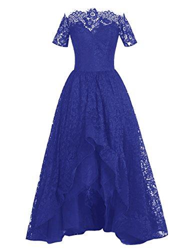 Dresstells Robe de cérémonie Robe de soirée en dentelle longueur ras du sol Bleu Saphir