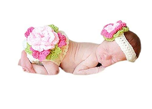 DELEY Baby Mädchen Häkeln Stricken Blumen Stirnband Hosen Set Neugeborene Foto Requisiten Kostüme 0-6 Monate