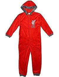 Niños Oficial LIVERPOOL LFC Todo en uno Polar Cremallera Con capucha pijama de bebé Mono 3