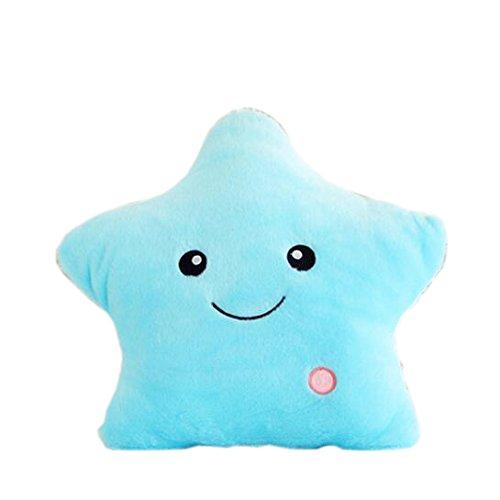 Sam's Fishing Beleuchtetes Kissen, LED, sternförmig, Plüsch, weich und gemütlich, ideal für Kinder blau