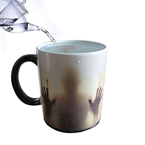 Luckkyy® - Tazza di ceramica di The Walking Dead, per tè, caffè, latte caldo o freddo, sensibile al calore, il motivo cambia colore a seconda della temperatura, colore: Bianco e Nero