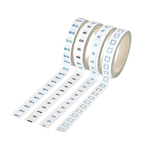 4 Rollen/Set 8mm * 5m Selbstklebende Bänder Datum Woche Zeitraster Washi Papierbänder Dekorative Schreibwaren Masking Tape Planner Aufkleber -