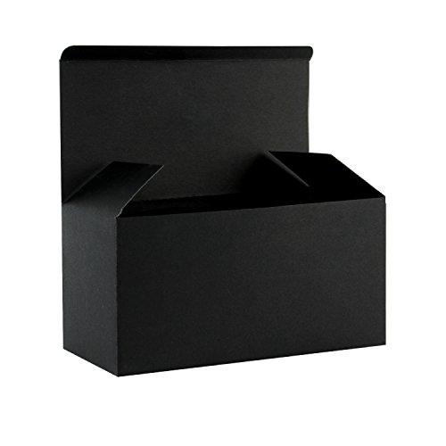 RUSPEPA Cajas De Regalo De Cartón Reciclado: Caja Decorativa con Tapas para Regalos, Fiesta, Boda - 23X11.5X11.5 Cm - Paquete De 30 - Negro