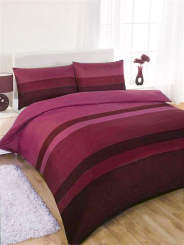 PINK & AUBERGINE STRIPED DOUBLE SIZE DUVET COVER BED SET