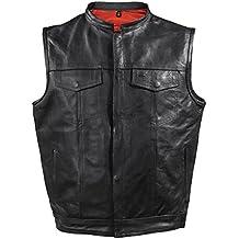 Los hombres de la motocicleta Riding hijo de la anarquía de piel chaleco rojo forro negro nuevo Regular)