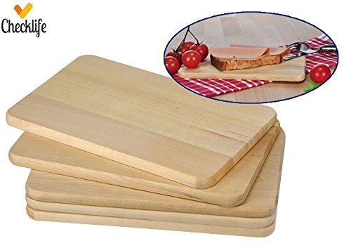 Checklife 901975 Frühstücksbrettchen 5er Set Holzbrett Schneidebretter Holz 21,5 x 13,5 cm