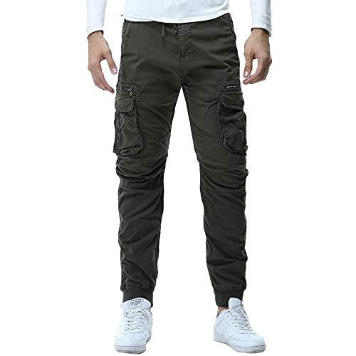 Rcool Pantaloni Uomo Lunghi Cargo con Tasche Laterali Tattici Militari Pantalone da Lavoro Pantaloni a Matita Sciolto Casuale All'aperto Tinta Unita 4 Colore M-3XL,