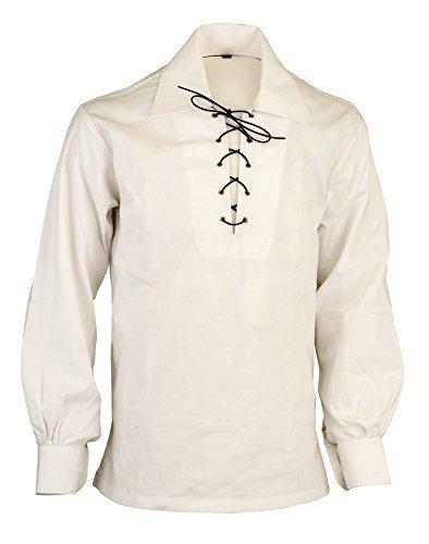 Weiß Scottish Highland malankara Jacobean Ghillie Kilt Shirt, Weiß, S (S/s Bandbreite)