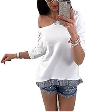 Vin beauty Donne di moda Fuori dalla spalla Bowknot Maglia manica lunga casual della maglietta della camicia manica...