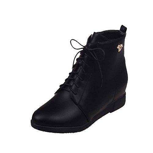 VogueZone009 Damen Niedrig-Spitze Reißverschluss Stiefel mit Metalldekoration, Grau, 37