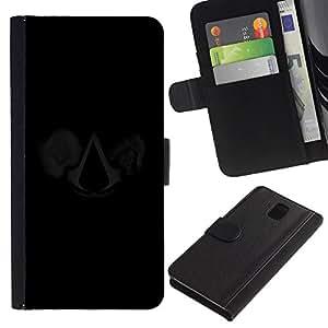 Samsung Galaxy Note 3 III N9000 N9002 N9005 , Flip Credit Card Slots PU-Leder-Mappen-Beutel Haut-Kasten-Abdeckung Hülle Case ( Man Hood Symbol Art Movie Cartoon Character)