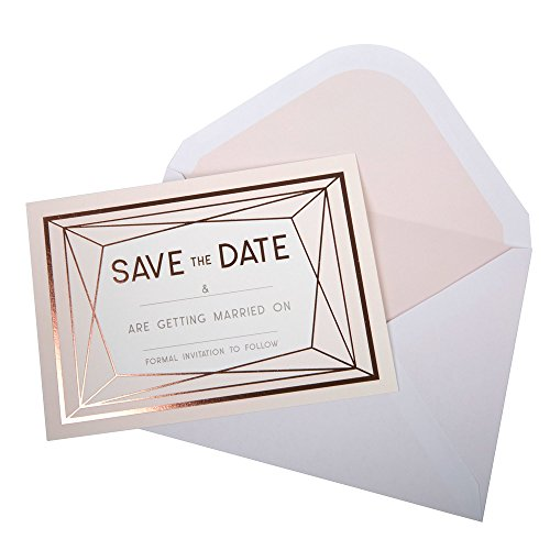 Neviti Geo Blush Save The Date-Karten, Rosa/Roségold