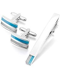 MunkiMix Rodio Plateado Gemelos & Corbata Tie Clip Bar Pasador Alfiler Conjunto Set El Tono De Plata Azul Camisa Alianzas Boda Negocios Gemelos Hombre