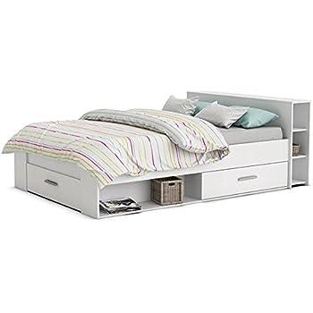 Funktionsbett Abby 140 * 200 cm weiß inkl. 3 Bettschubkästen + Regal (Kopfteil) Jugendzimmer Kinderzimmer Studentenbett Kinderbett Jugendbett Ju