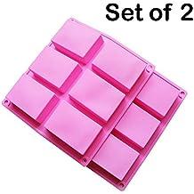 BAKER DEPOT Rectángulo molde de silicona para jabón artesanal, pastel, pan 6 hoyos, juego de 2