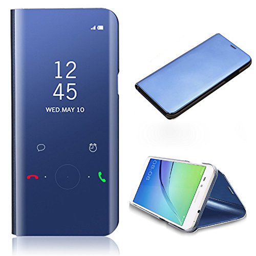 CrazyLemon Smart Hülle für Samsung Galaxy A5 2017 A520, Hybrid Galvanisiert Klar Aussicht Spiegel PU Leder Flip Hülle + PC Back Cover mit Kippständer Hülle für Galaxy A5 2017 - Blau Blau Back Cover