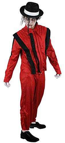 Zombie Michael Jackson Thriller Costume Set for Adults, with wig, facepaint, gloves and red Thriller suit. Choice of sizes.