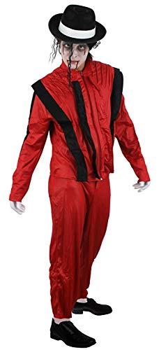 ILOVEFANCYDRESS Zombie Jacko Erwachsenen KÖNIG VON POP Halloween KOSTÜM KOSTÜM MIT Blut, Facepaint, Schwarze MÜTZE MIT WEIßEN Band MIT Haaren, WEIßE Handschuhe ROTE Thriller Jacke (X-Large) (Michael Jackson Zombie Kostüm)