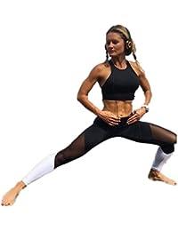 HARRYSTORE Mujer pantalones deportivos y elásticos de yoga Mujer polainas de la cintura alta ajustadas para correr y Aptitud