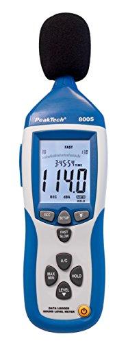 PeakTech Schallpegelmessgerät/Schallpegelmesser mit 32000 Punkten Datalogger/Datenlogger und USB-Schnittstelle - Schallpegel Dba und Dbc, 1 Stück, P 8005