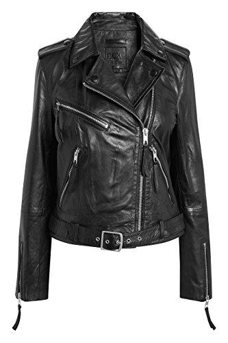 next Damen Bikerjacke aus Leder – Petite Schwarz EU 38 (UK 10) (Leder Schwarz Petite)