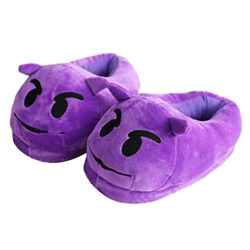 Achetez-en un en obtenir douze---Emoj ExpressionPlush chaussons, hiver homme maison et Chaussures Femme Violet