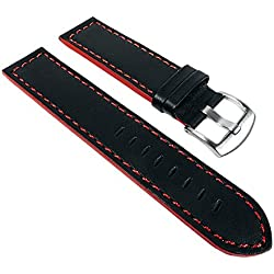 Sportina Ersatzband Uhrenarmband Kalbsleder schwarz / Rot 22675S passend zu Festina, Stegbreite:20mm
