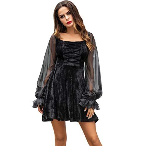 XIGUAK Frauen Platz Kragen Samt Mini Dress LaternehüLse Lolita Stil Dress Club Party Halloween KostüMe Outfits