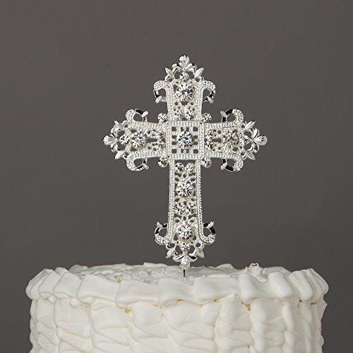 Kreuz Cake Topper, religiöse, Hochzeit, Taufe, Taufe, Engagement, Boda Andenken Dekoration silber