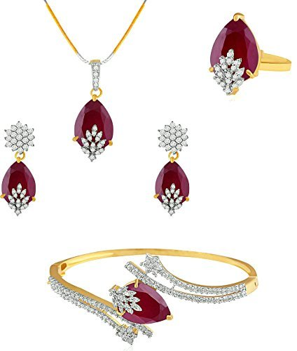 M CREATION American Diamond Combo of Pendant with Earrings, Bracelet and Ring for Women (Red)