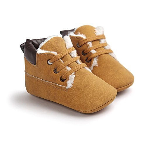 Cutelove confortevole morbida antiscivolo desorbimento facile cinque colori per proteggere le scarpe scarpe unisex baby baby bambini primi camminatori di direzione più velluto Hodan stivali scarpe marrone2