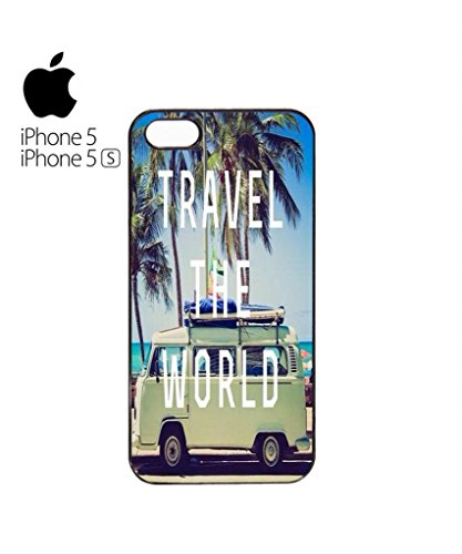 Travel the World Camper Summer Fun Mobile Phone Case Back Cover Hülle Weiß Schwarz for iPhone 5&5s White Weiß