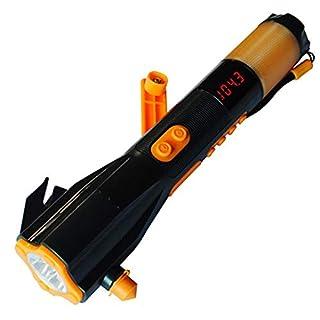 Notfall-Taschenlampe Mit Sicherheitsgurt-Schneidwerkzeug, 9-in-1-Auto-Multifunktions-Feuer-Notfall-Taschenlampe, Kompass, Ladeschatz, Rote Warnleuchte, Magnet, Radio,