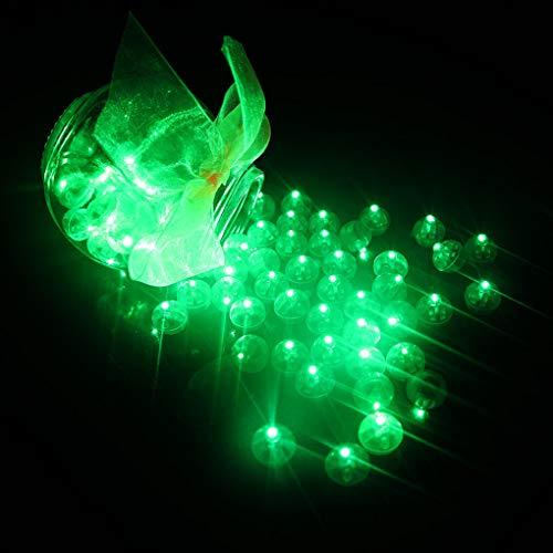 k LED Ballons Lichter Runde kugel Plastic Mini Round Ball für Party Halloween Weihnachten Dekoration (Grün) ()