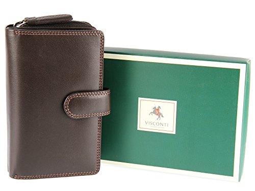 Portafoglio in Pelle con Chiusura a Linguetta Visconti Collezione Heritage MADAME HT33 Marrone (marrone)