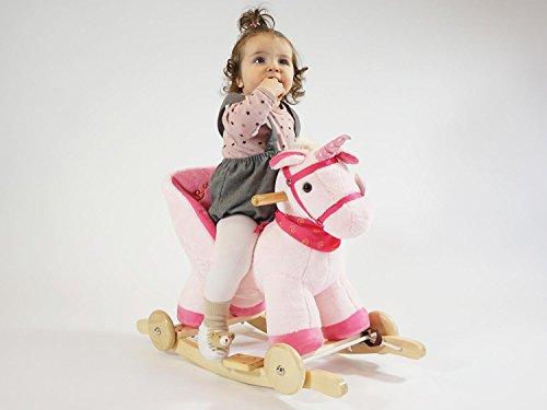 Dunjo® Baby Schaukelpferd Schaukeltier Rosa Einhorn | Ab 1 - 3 Jahre | mit Rollen, Sound-Modul, Babysitz - 6