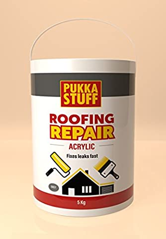 roof sealer, 5KG One Coat Roof Repair Compound (All roof types including Asbestos, Felt, Bitumin, Tiled, GRP) Pukka (GREY)
