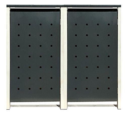 BBT@ | Hochwertige Mülltonnenbox für 2 Tonnen je 120 Liter mit Klappdeckel in Grau / Aus stabilem pulver-beschichtetem Metall / Stanzung 6 / In verschiedenen Farben sowie mit unterschiedlichen Blech-Stanzungen erhältlich / Mülltonnenverkleidung Müllboxen Müllcontainer