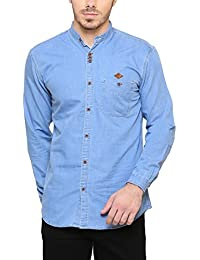 e279c2654a5 Kuons Avenue Men s Cotton Denim Shirt for Men Chinese Collar (Colour  Options Inside)