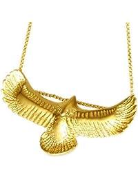 7a20dc41c0f0 Burenqi Collar de alas de águila de Oro de Acero Inoxidable