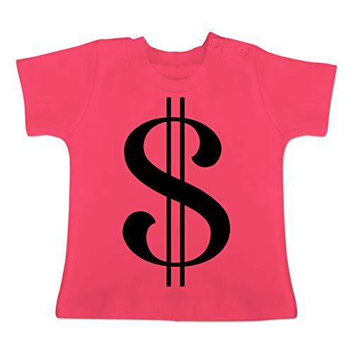 Karneval und Fasching Baby - Dollar Kostüm - 3-6 Monate - Fuchsia - BZ02 - Baby T-Shirt Kurzarm -