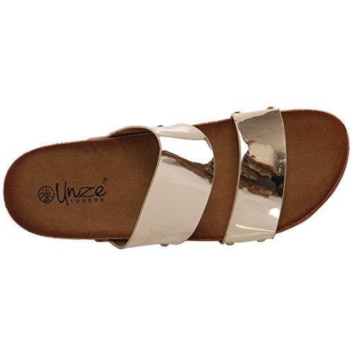 Unze Für Frauen Ariana 'Shiny Wohnung Slippers - 81992-9 Gold