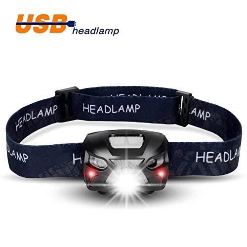 LED Stirnlampe, LED Scheinwerfer USB wiederaufladbare Super Bright Scheinwerfer 300 Lumen, 6 Leuchtmodi, White & Red LEDs, wasserdichte Hard Hat Stirnlampe Ideal für Camping, Laufen, Wandern und Lesen