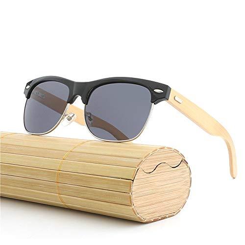 Easy Go Shopping Handgefertigte Bambus Beine Sonnenbrillen Metall Halbrahmen Sonnenbrille Augenbraue Rahmen Bambus Farbfilm Brille für Uisex uv400 Sonnenbrillen und Flacher Spiegel (Color : Black)